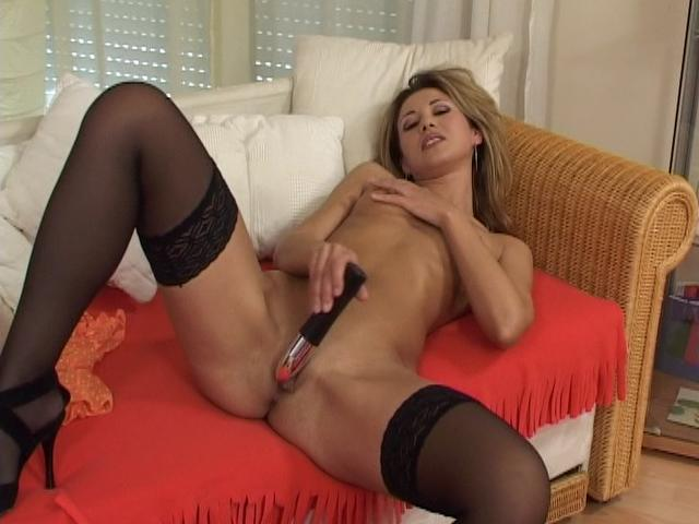 Sensuous Platinum-blonde Doll In Pantyhose Tearing Up A Immense Plaything At The Sofa