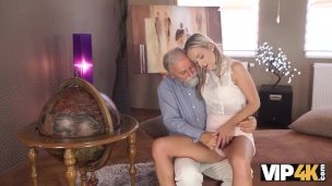 Vip4k. Lovely Ash-blonde With Flawless Bod Makes Enjoy To Elderly Stud